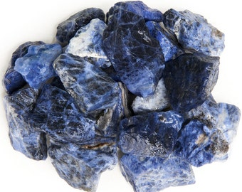 Digging Dolls: 1 lb Sodalite Rough Rocks from Brazil - Natural Raw Crystals and Stones