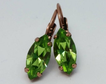 Peridot Crystal Earrings, Peridot Leverbacks, Green Earrings, Crystal Navette Earrings, Green Leverbacks, Green Jewelry, August Birthday