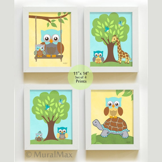 Owl Nursery Decor Nursery art Nursery Wall Art Set of