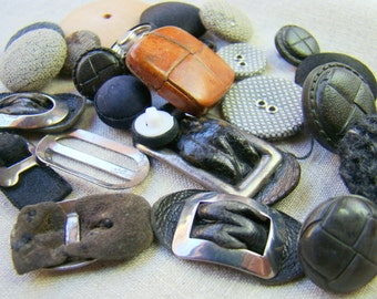 Lot of Vintage and Antique Leather and Cloth Buttons and Buckles  Antique Leather Buckles  Vintage Buttons  Destash Buttons Rare
