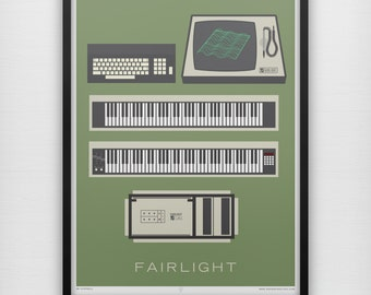 Fairlight Large Print Retro 1980's Analog Synth Synthesizers Computers Monitor 1980s Music Instrument Minimalist Geek Poster Home ALL SIZES
