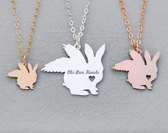Pet Rabbit Easter Bunny Loss • Pet Bunny Rainbow Bridge Angel Winged Peter Rabbit Bunny • Angel Rabbit Loss Floppy Bunny Necklace Cottontail