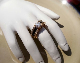 Vintage gold onyx diamond ring