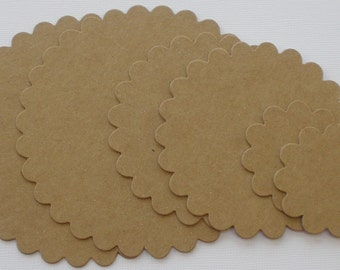 6 NESTiNG SCALLOP CiRCLES - Graduated Matts Bare Cardboard  / Chipboard Die Cuts