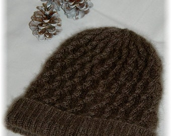 """Hat for Women """"Campania Island"""", hand knit in soft and extremely warm 100% Qiviut (Musk ox Under Down) with cables - MADE TO ORDER"""