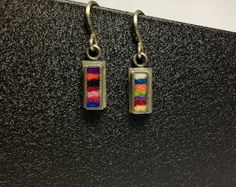 Skinny Rectangle Earrings Extra Small Multicolor