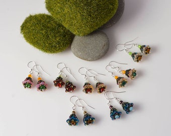 Fairy garden flower beadwoven earrings