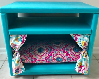 Upcycled end table, pet bed, dog bed, cat bed