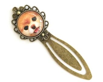 Pomeranian Face Antique Brass Bookmark