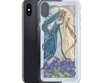 Lady of September Art Nouveau Birthstone Series Equinox Celestial Sun and Moon Goddess with Morning Glories iPhone Case