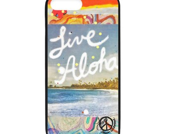 NEW iPhone 8/8+ Case, LIVE ALOHA, Best Seller, Hawaii, Aloha, Beach, Surf, Surf Art, Tropical, Ocean, Art, black case color, Apple iPhone