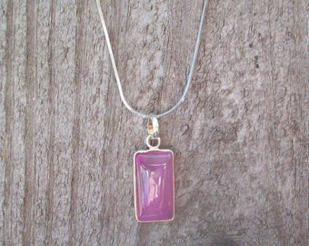 Pink Amethyst and Sterling 925 Chain Stamped