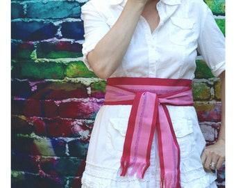 Fuchsia Hot Pink Sash Belt SA10 SA55 - Ethnic Sash - Boho Chic Fashion - Guatemalan Fabric - Pink Sash - Boho Gypsy Clothing - Bohemian Belt