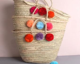 Market Basket    Woven Palm Leaf Tote Bag    Multi Colour Decorative Pom Pom   