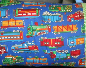 Trains Box Cars Choo Choo Blue Chid Pillow Case Pillow Cover Model Train Standard Pillow Case
