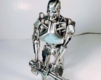 Terminator T-800 Arnold schwarzenegger robot metal sulpture stainless steel brutal silver undead legend