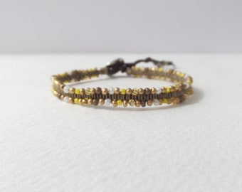 Brown Bracelet, Beaded Micro Macrame, Cord Bracelet, Clasp Bracelets, Casual Delicate Cotton, Friendship Bracelet, Brown and Gold, BFF gift