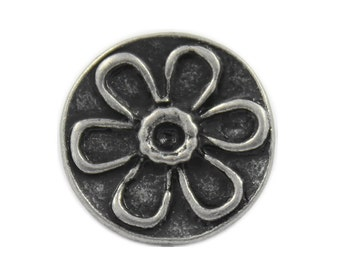Flower Metal Buttons - Antique Silver Daisy Pattern Metal Shank Buttons - 15mm - 5/8 inch - 3 pcs