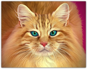 Painted Orange Tabby Cat- 11x14 print-BLUE Eyes