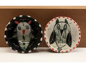Owls - Ceramic Two Bowl Set - Original Painting by Jenny Mendes in two Hand Pinched Ceramic Finger Bowls