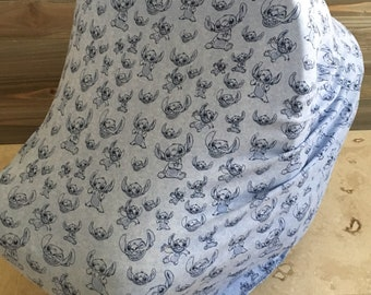 Stitch stretchy car seat cover, baby carseat canopy cover, nursing cover, baby shower gift, lilo and stitch, baby boy, baby girl