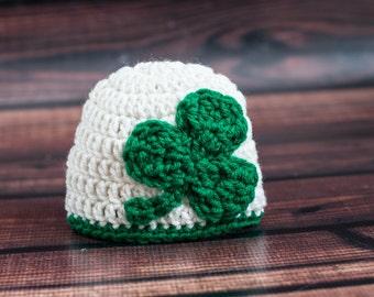 Crochet Irish Baby Hat with Large Kelly Green Shamrock Clover St. Patricks Day Parade Beanie