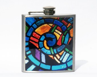 FLASK - Hip Flask - Whisky Flask - Stained Glass Flask- Mosaic Flask  - 6oz