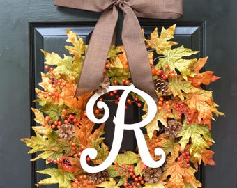Fall Berries and Leaves Wreath, Fall Wreath, Fall Decor Monogram Wreath with Pinecones, Autumn Fall Decor, Fall Colors 22 inch shown