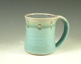 Coffee Mug Cup ,large ceramic handmade mug with large Handle, turquoise,  wheel thown (20oz) -- Perfect Hot & Chocolate