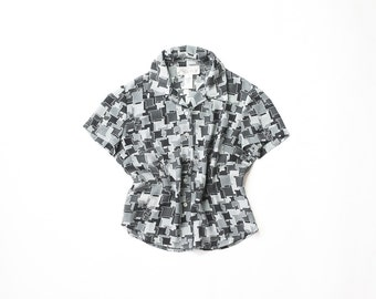 90s Sheer Graphic Print Blouse 1990s Short Sleeve Button Up Top Aesthetic Geometric Shirt Soft Grunge Box Blouse Blue Abstract Small Medium