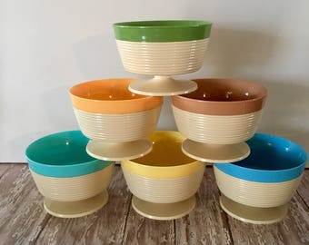 Vintage Raffiaware Dessert Cups, Thermo Temp dessert Bowls, Hot/Cold Dessert Cups, Mid-Century Fruit Cups, Plastic Dessert Cups