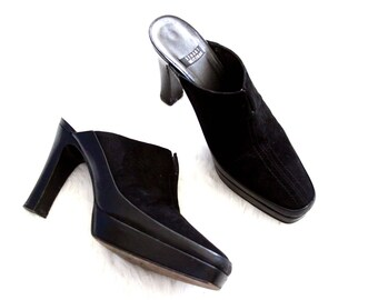 black suede mules - 90s Stuart Weitzman slides - black leather platform heels - designer - womens us 5.5 shoes UK 3 EU 36
