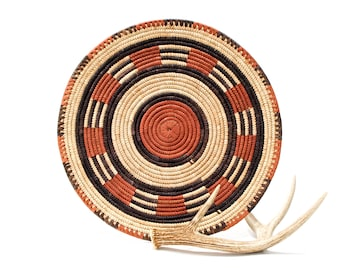 VINTAGE: Native American Coiled Tray Baskets - Flat Ceremonial Tray - Hand Woven and Hand Dyed - SKU 27-A-00011193-os-no