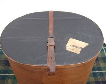 Antique Hat Box. Bentwood.Large with leather Strap. Early 1900s luggage. painted interior. Luggage.