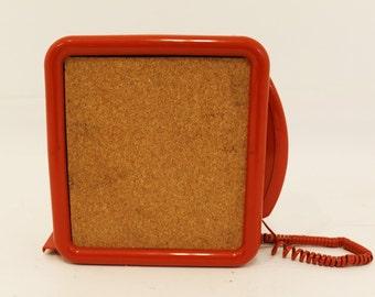 Mid Century Modern Pop Art Orange Wall Phone w/ Cork Board 1960's Vintage