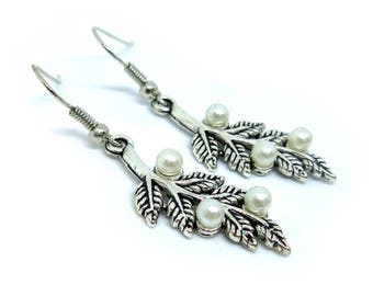 Leaf with Pearls Silver Earrings