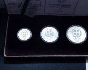 Greece 500,250,100 Drachmai 1981,XIII European Athletics Championship,Greek silver coins,collectibles coins,vintage coins,antique coins