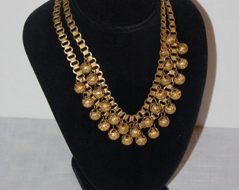 Victorian Necklace Goldtone Duel Drape Estate Necklace Metal Beads Jewels