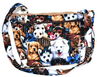 Puppy Dogs Quilted Purse,Handcrafted Adjustable Strap Easter Basket Bag,Multiple Compartments,Zippered Closures,Matchign Zipper Pulls