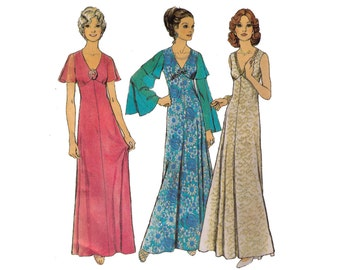"""Style 4414, 70s sewing pattern, size 18 bust 40"""" women's dress pattern, v neck maxi dress, ball gown"""