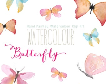 Watercolour Butterfly Hand Painted Clip Art
