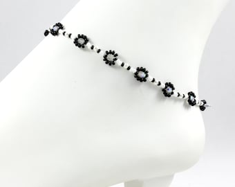 Beaded Anklet - Black White Anklet - Bead Ankle Bracelet - Daisy Chain Jewelry - Seed Bead Jewelry - Summer Anklet