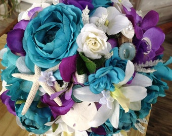 Beach Wedding Seashell Purple and Turquoise Diamond and Pearl Bridal Bouquet with Starfish Sand Dollars and Driftwood Trim