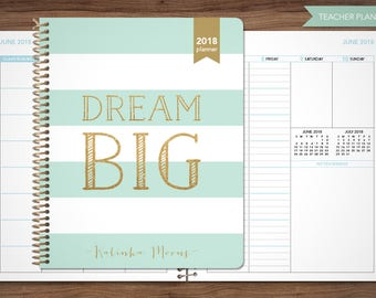 2018 2019 teacher planner 2018-2019 planner teacher lesson plan TEACHER PLANNER - TABS weekly calendar agenda / mint gold stripes dream big