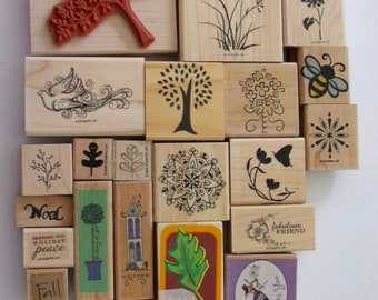 Lot of 23 New and Gently Used Rubber Stamps