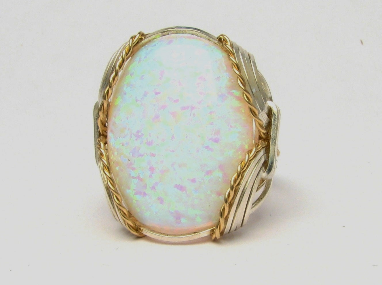 Opal Cabochon Ring Wire Wrapped Ring 14kt Yellow Gold Filled ...