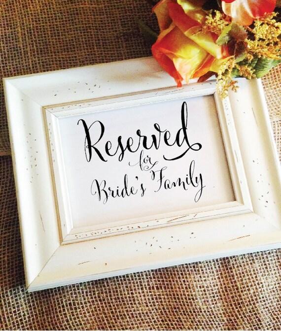 Reserviert für Braut Familie Zeichen Hochzeit Zeremonie