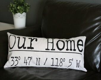 Latitude Longitude Pillow, Coordinates Pillow, Personalized Pillow, Custom Pillow, Housewarming Gift, Burlap Pillow, Wedding, New Home Gift