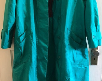 Vintage Teal Trenchcoat • Size 10/11 • Forecaster of Boston • 80s/90s