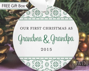 New Grandma and Grandpa Gift New Grandparent First Christmas as Grandparents Personalized Porcelain Ornament - Crystalline Pattern-# CRY-G-O